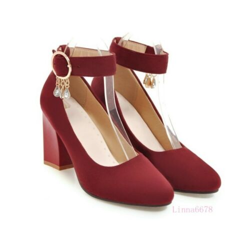 Womens Pointed Toe Mary Janes Shoes Faux Suede Pumps Ankle Strap Tassel New Size
