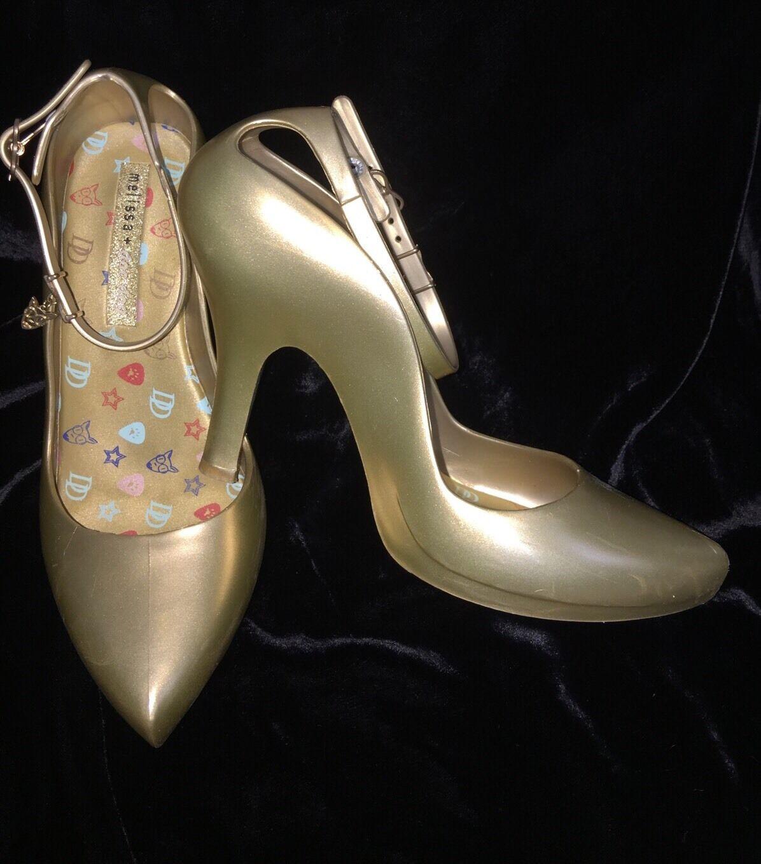 RARE Melissa + Doc Dog Rubber Jelly gold tone heels sz 37 Us 6