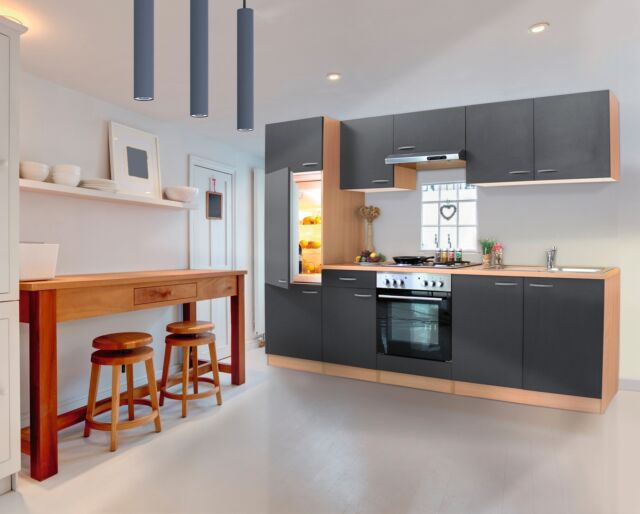 Respekta Küchenzeile 270 Cm Buche - Grau | eBay
