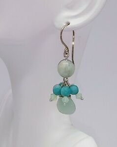 STERLING-SILVER-AQUAMARINE-AMAZONITE-FACETED-BRIOLETTE-EARRINGS