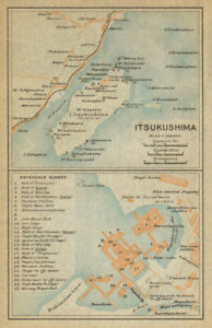 Itsukushima Island & Shrine. miyajima Japan 1914 Old Map Jade White Hiroshima Bay