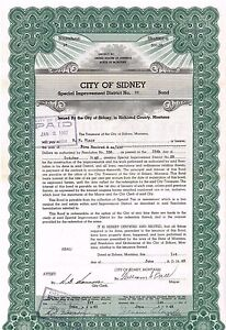 Details about City of Sidney > Montana bond certificate > Mayor William  Ball autograph