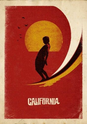 VINTAGE SURF CALIFORNIA Métal Tin Signe Affiche Plaque Murale