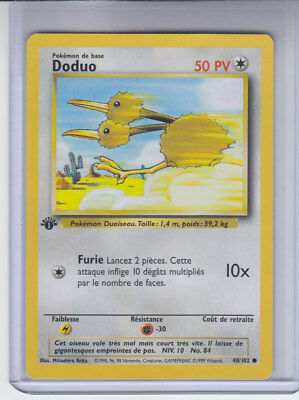 OLD Original Vintage WOTC Pokemon Card Shadowless Base Set Doduo 48//102 Mint