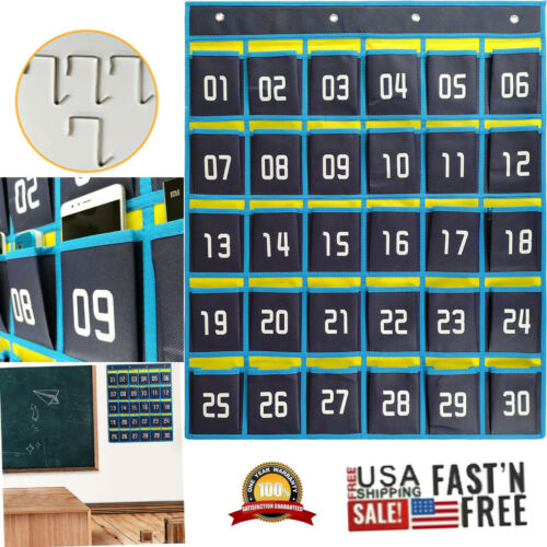 Numbered Classroom Cell Phones Storage 30 Pocket Bag Organizer Hanging Wall Door