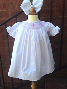 New Smocked Cross bishop dress 3m - 4t * Baptism Easter heirloom Christening