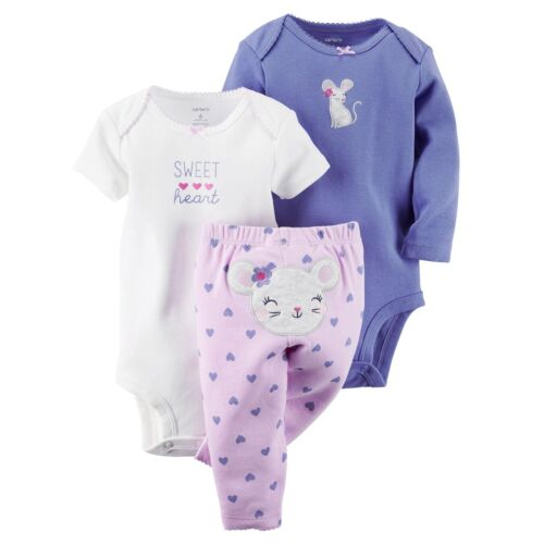 Carter/'s Baby Girls 3 Pc Bodysuits /& Pants Set NWT   6M  or  9 Months   MSRP $22