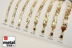 Fashion-14k-Yellow-Gold-Plated-Width-4-5-6-7-8-10-mm-Figaro-Link-Chain-Necklace
