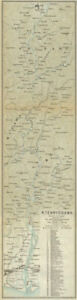 Hamamatsu Honshu Japan 1914 Old Antique Map Chart Iida River Tenryu-gawa