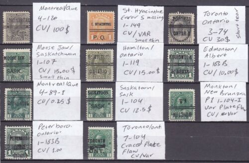 CANADA OLD VALUABLE PRECANCEL STAMP COLLECTION CV 180+