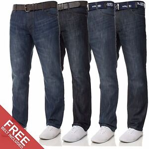 New-Mens-KRUZE-Designer-Straight-Fit-Belt-Blue-Denim-Jeans-All-Waist-Sizes