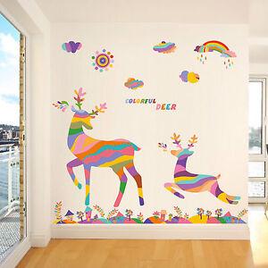 neu aufkleber wand sticker hirsch regenbogen tiere kinderzimmer kinder liebe ebay. Black Bedroom Furniture Sets. Home Design Ideas