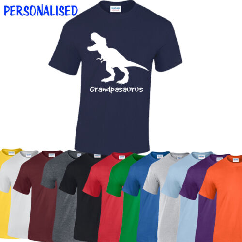 Personalised SAURUS Tshirt Funny Fathers Day PRESENT Dad Daddy tee Dinosaur Top