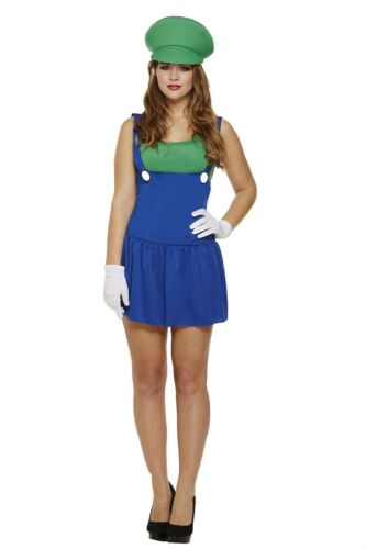 Ladies SuperMario Plumber Bros Video Game Workwoman Costume Fancy Dress