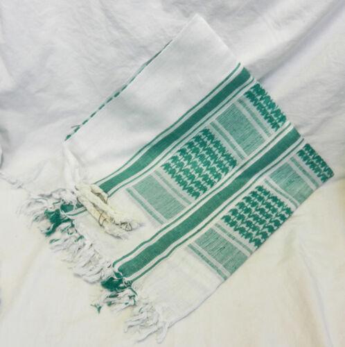 BNIB Arabic Style Scarf Large Green and White 100/% Heavy Cotton Arab
