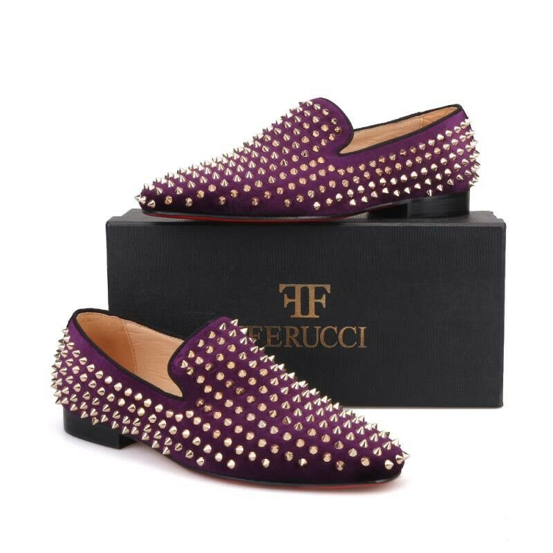 Men FERUCCI Purple Velvet Slippers Loafers Flat With Gold Spikes Rivet