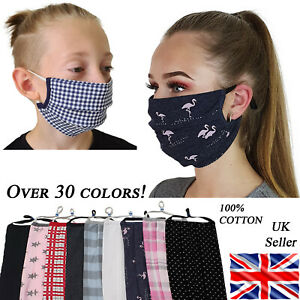 Cotton Face Mask Adjustable Mask Double Layered Washable Reusable Adult Kids Uk Ebay