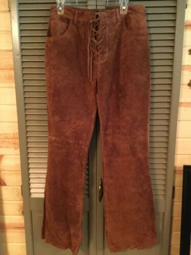 Vintage Brown Sueded Leather Lace-Up Bell Bottoms