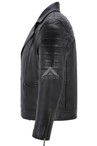Heren stijl Biker Napa echt zwart leer motorfiets jas 3205 mode nieuwe S7Szrqna