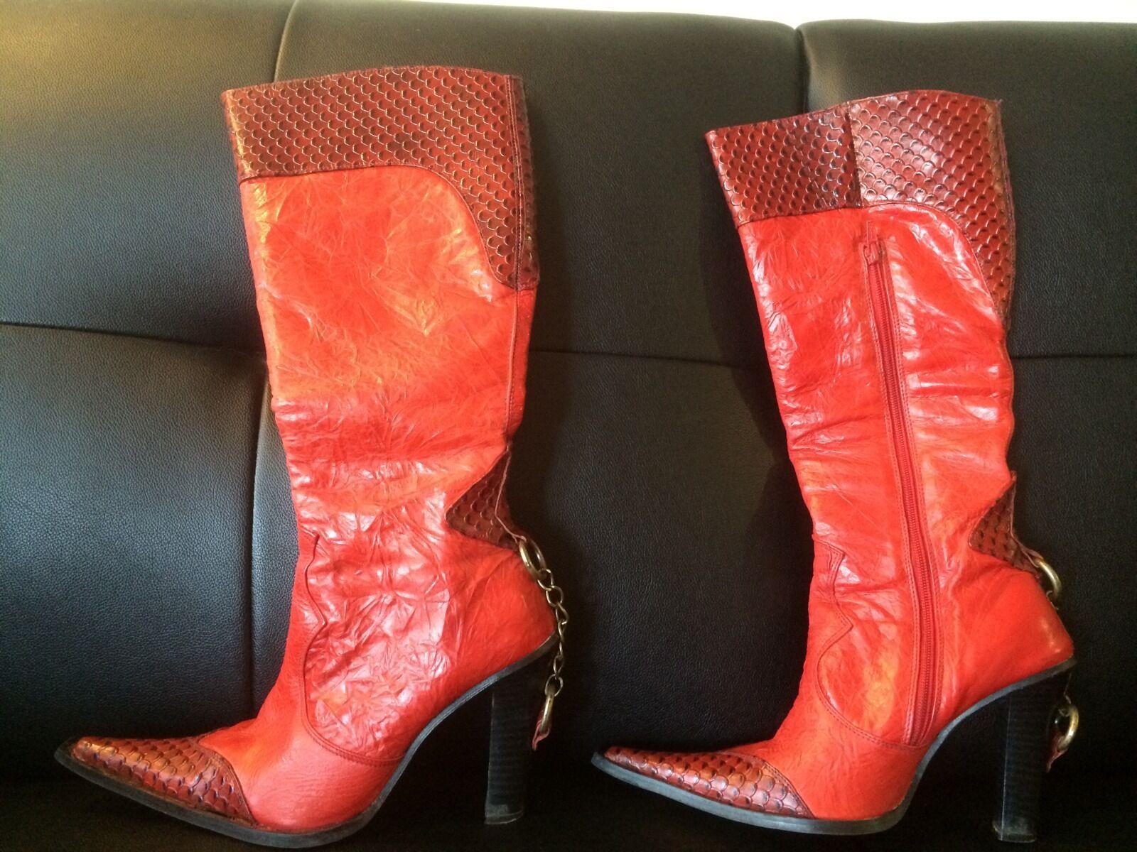 ATRAKZIA Red  Leather Tall Boots SZ US 8