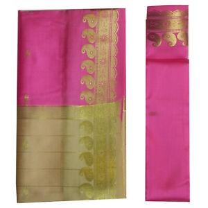 Süd- & Zentralasien Brokat Sari Beige Pink Goldbrokat Bindi Ohrhänger Wickelkleid Polyester Halten Sie Die Ganze Zeit Fit