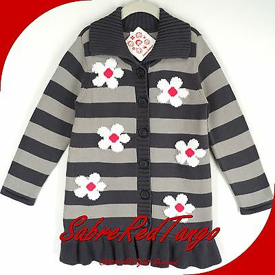 NWT HANNA ANDERSSON STRIPED SWEATER COAT GREY MULTI WHITE FLOWERS 110 6