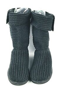 Ugg-Knit-Sweater-Boots-Black-Classic-Cardy-Women-039-s-Size-6-5649-Sheep-Wool-Insole