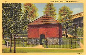 Pittsburgh-Pennsylvania-PA-1940s-Linen-Postcard-Fort-Pitt-Block-House-Built-1764