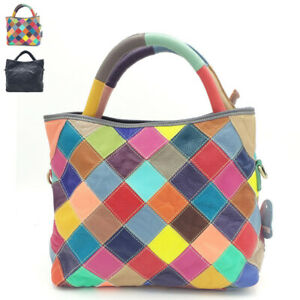 Multicolor Patch Real Leather Raw Edge Tote Shoulder Bag Purse Crossbody Handle