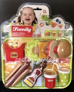 Pretend-Fast-food-Toy-Play-Hamburger-Fries-Shop-Kids-Store-Gift-Fun-Meal-Plast