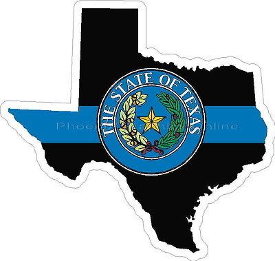 Thin Blue Line Texas w/ State Seal Decal Sticker Police Sheriff Deputy