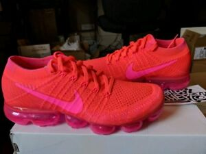 detailed look a787e e6ade Details about Nike WMNS Vapormax Flyknit Hyper Punch Pink Blast Bright  Crimson Hot 849557-604