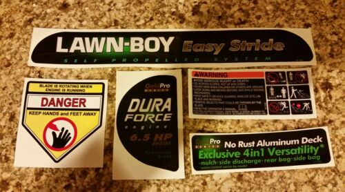 Reproduction Lawn Boy Easystride 10550 Gold Duraforce 6.5hp Mower 5pc Decal Set.