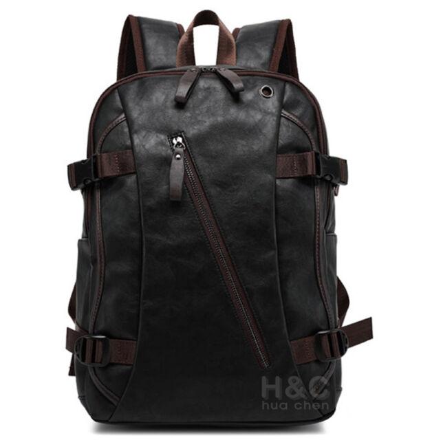 ad64240a9 Men's Vintage PU Leather Backpack School Bag Travel Satchel Book Bag  Rucksack
