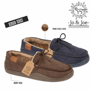 47495bae45a MENS FLEECE FUR LINED MOCCASIN SLIPPERS FAUX LEATHER WINTER LOAFERS ...