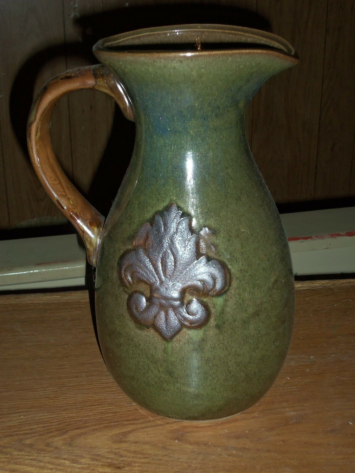 Contemporary Art Pottery Pitcher w  Fleur De Lis