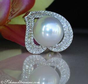 Feminin: Feinster Südseeperle Ring Mit Brillanten Im Herz Design 0.89 Ct. 4800€