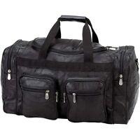 Black 21 Genuine Leather Duffle Bag, Mens Overnight Carry-on Travel Luggage Gym