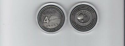 Apollo 14 Antique Silver Coin Contains Metal Flown To Moon Medallion Token NASA