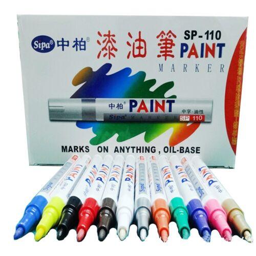 12 PCS Color Paint Marker Pens Set Fine Piont Car Tire Drawing Art Design NEW