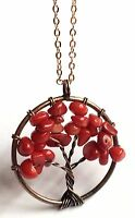 Rose Gold Red Coral Tree Of Life Necklace Celtic Plated Copper Gemstone 18-20