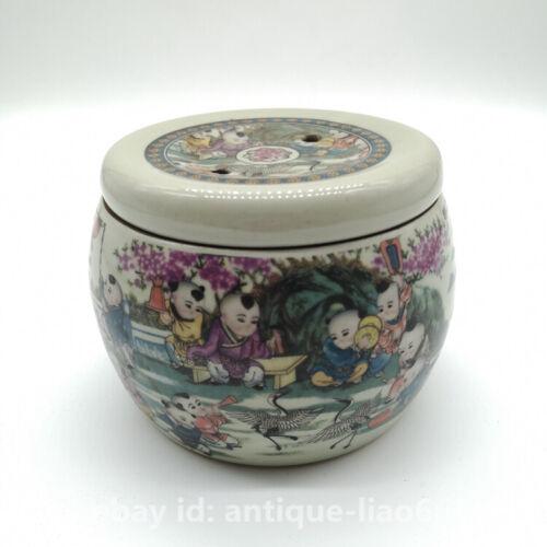 China Famille-rose Porcelain Children Boy Kid Grasshopper Cage//Cricket Cage Pot