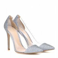 **GIANVITO ROSSI** Plexi Clear Sparkle Silver Shoes Pumps Heels Bridal Wedding