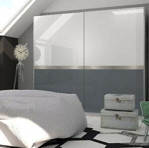 Glacia White And Graphite Gloss Sliding Door Wardrobe Bedroom Furniture Cupboard Ebay