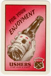 Playing-Cards-Single-Card-Old-USHERS-Brewery-Advertising-TRIPLE-CROWN-Ales-Beer