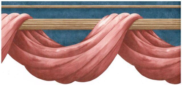 VICTORIAN MAUVE CURTAIN / ROYAL BLUE / TAN ROD Wallpaper bordeR Wall Decor
