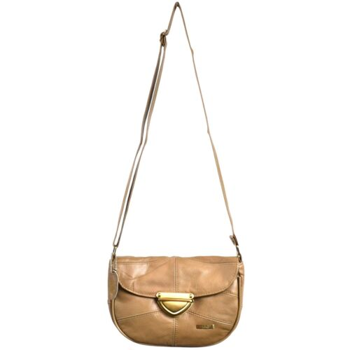 LADIES LEATHER SHOULDER BAG HANDBAG with fold over flap BROWN//FAWN//TAN