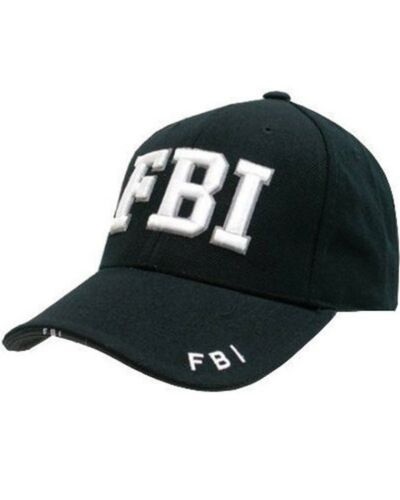 Kampf Militär /'/'FBI/'/' 100/% Baumwolle Schwarz Duckbill Spitze Baseball Kappe Neu