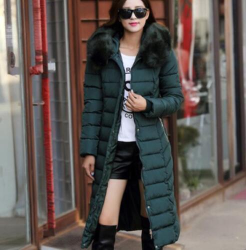 2019 Womens Hooded Cotton Down Coat Jacket Fur Collar Winter Long Parkas Plus Sz