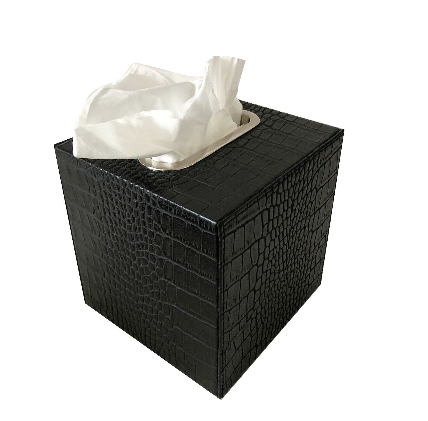 Tissue-Box Kosmetiktuchbox Leder Krokoprint schwarz Edelstahlring